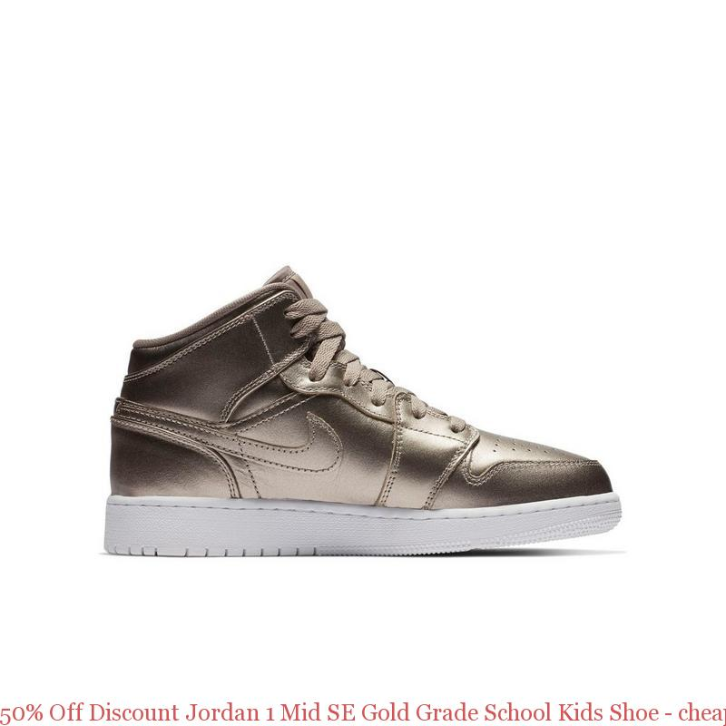42738af39817 50% Off Discount Jordan 1 Mid SE Gold Grade School Kids Shoe – cheap ...