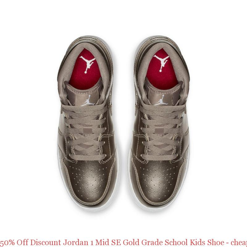 993127b25f134 50% Off Discount Jordan 1 Mid SE Gold Grade School Kids Shoe – cheap ...