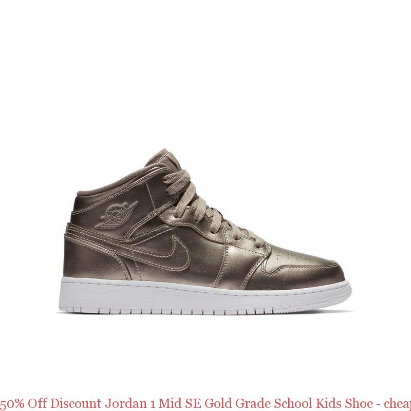 2442a0f5efaf2 50% Off Discount Jordan 1 Mid SE Gold Grade School Kids Shoe – cheap ...