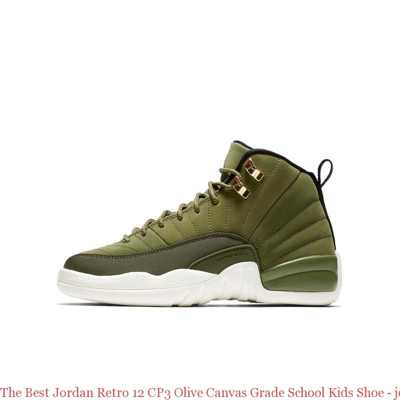 The Best Jordan Retro 12 Cp3 Olive Canvas Grade School Kids Shoe
