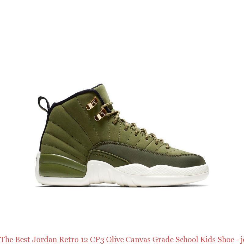 bfc1ff30e68 The Best Jordan Retro 12 CP3 Olive Canvas Grade School Kids Shoe - jordans  cheap price - R0255